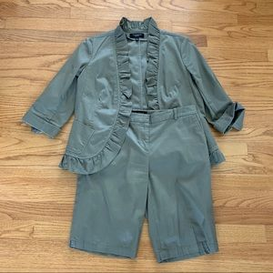 Talbots Olive Green Shorts Suit Set